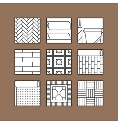 Flooring flat icons of laminate parquet carpets vector