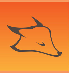 Fox head sign in curve lines vector