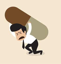 Man carry a big pill vector image