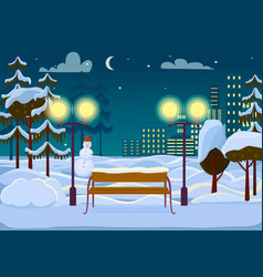 snowy winter city park vector image