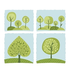 Spring trees set vector