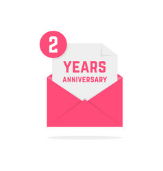 2 years anniversary icon in pink letter vector