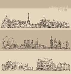 city set London Paris Rome vintage engraved vector image