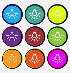 Light bulb icon sign nine multi colored round vector