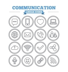 Communication linear icons set thin outline signs vector