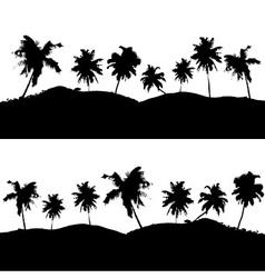 Various tropical palm tree landscape black symbols vector