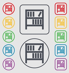 Bookshelf icon sign symbols on the round and vector