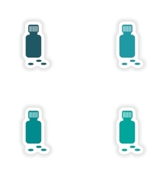 Assembly realistic sticker design on paper bottle vector