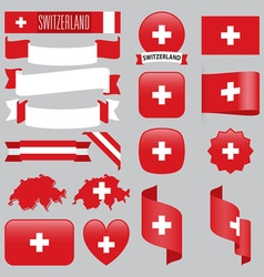 Switzerland flags vector