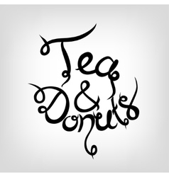 Hand-drawn lettering coffee and donuts vector