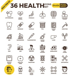 Health and medical pixel perfect outline icons vector