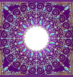 background rame with gold ornaments and precious vector image