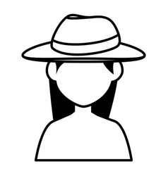 beautiful and young woman with tourist hat vector image