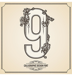 Calligraphic font Number 9 vector image vector image