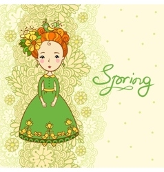 Card spring flowers and girl vector image vector image