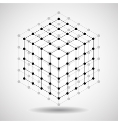 Cube of lines and dots molecular lattice vector image