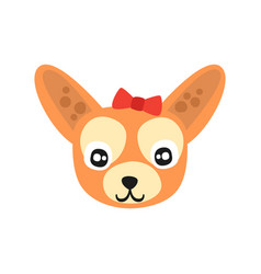 cute chihuahua dog head funny cartoon animal vector image