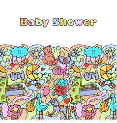 doodle baby shower mock up vector image