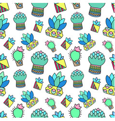 doodle cactus and succulent raster seamless vector image vector image