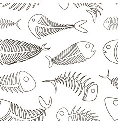 fishbone set pattern vector image vector image