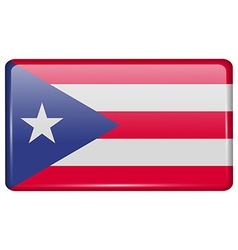 Flags Purto Rico in the form of a magnet on vector image