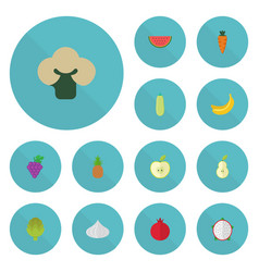 flat icons cluster jonagold pumpkin and other vector image vector image