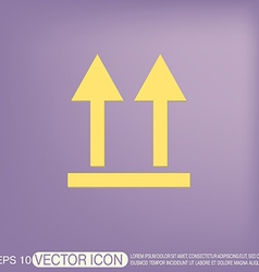 Fragile symbol arrow up logistic icon vector image