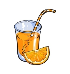 Glass of freshly squeezed juice with orange piece vector