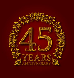golden emblem of forty fifth years anniversary vector image vector image