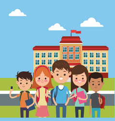 Group student ready building school vector