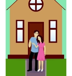 Happy couple with house keys vector image vector image