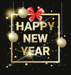 happy new year golden text on black shining vector image