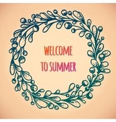 Happy summer wreath vector