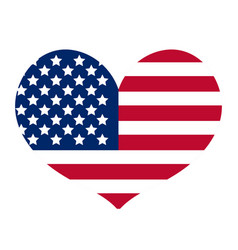 Heart with the flag of america icon flat style vector