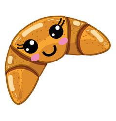 kawaii cute happy croissant bread vector image vector image