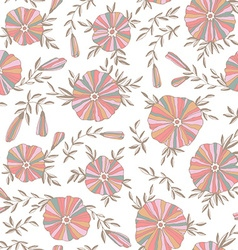 Light seamless pattern with elegant flowers vector