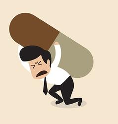 Man carry a big pill vector