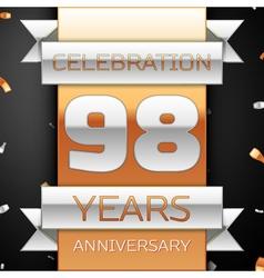 Ninety eight years anniversary celebration golden vector