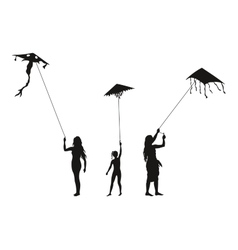 People with Flying Kites Silhouettes vector image