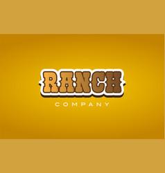 Ranch western style word text logo design icon vector