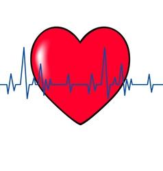 Red heart cardiogram blue vector