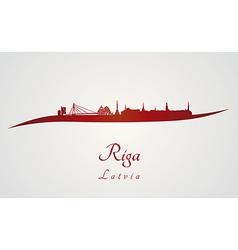 Riga skyline in red vector
