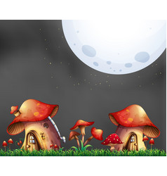 Scene with two mushroom houses at night vector
