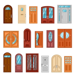 Set of detailed colorful front doors vector