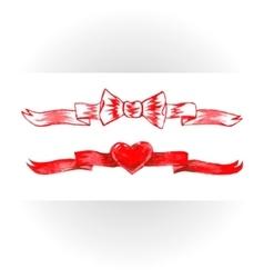Set of red watercolor ribbons bows hearts vector image