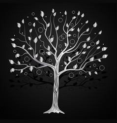 silver tree with circles vector image vector image