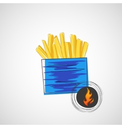sketch of cardboard with french fries vector image vector image
