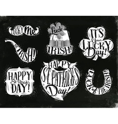 St patrick symbols chalk vector