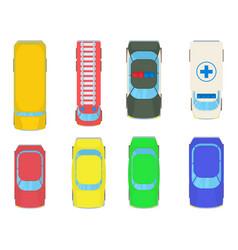 vehicle bird view icon set cartoon style vector image