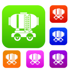 Waggon storage tank with oil set collection vector